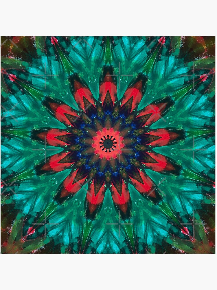 All Together Now Colorful Mandala - In Teal Green Red and Blue - Bohemian Art by OneDayArt