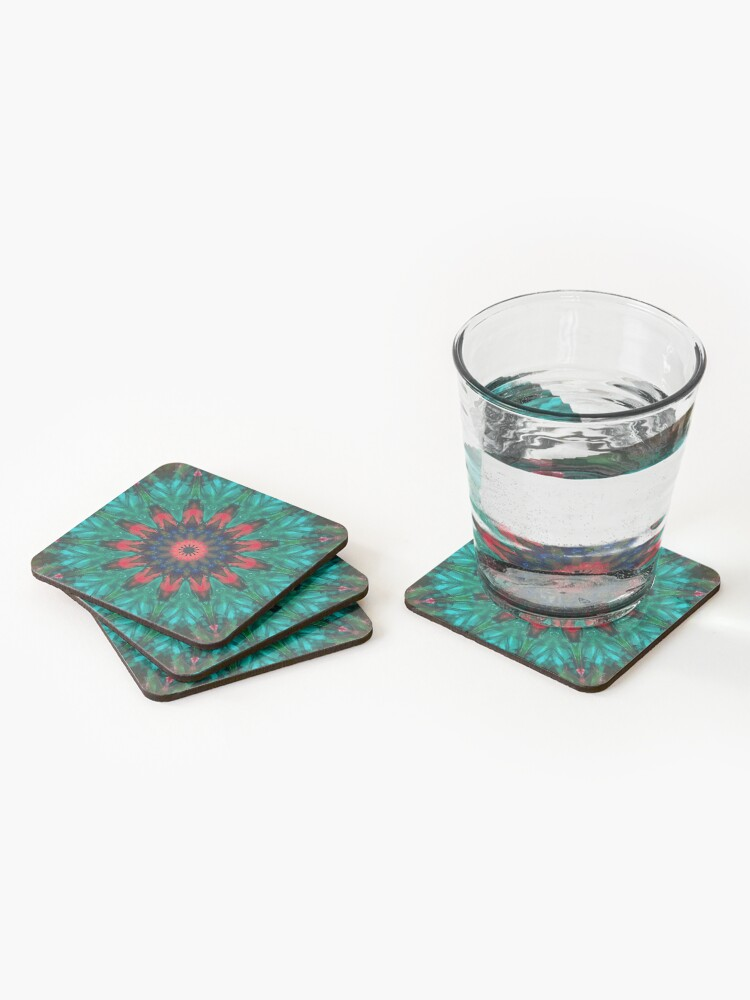 Alternate view of All Together Now Colorful Mandala - In Teal Green Red and Blue - Bohemian Art Coasters (Set of 4)