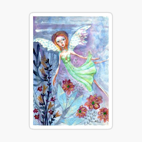 Fairy Angel in Green Dress Meloearth Sticker
