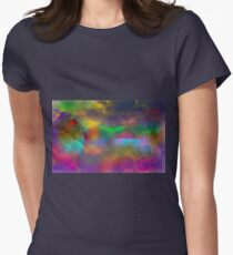 Colorful abstract landscape over lake Womens Fitted T-Shirt