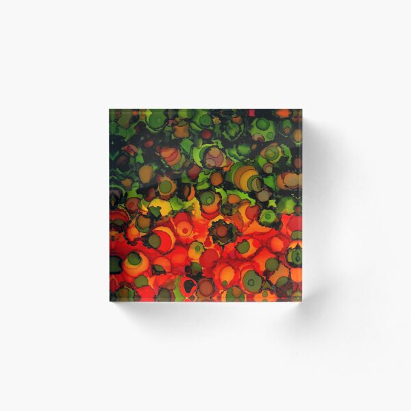 Abstract alcohol ink design in bright green, orange and red circles Acrylic Block