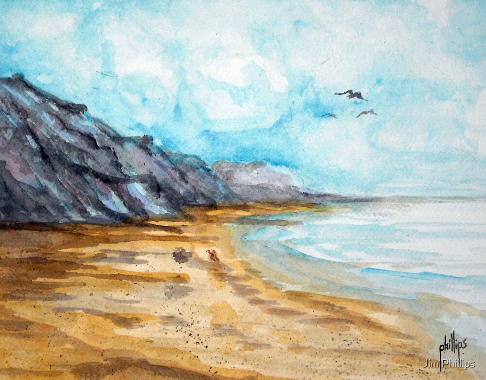 Deserted Winter Beach by Jim Phillips