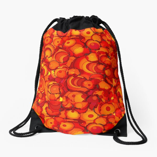 Alcohol ink abstract design with red, orange and yellow circles Drawstring Bag