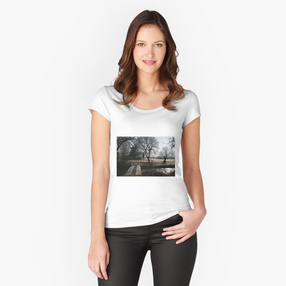 Wooden Bridge in Creswell, Oregon Fitted Scoop T-Shirt