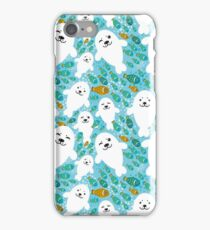 cute seal and fish in water iPhone Case/Skin
