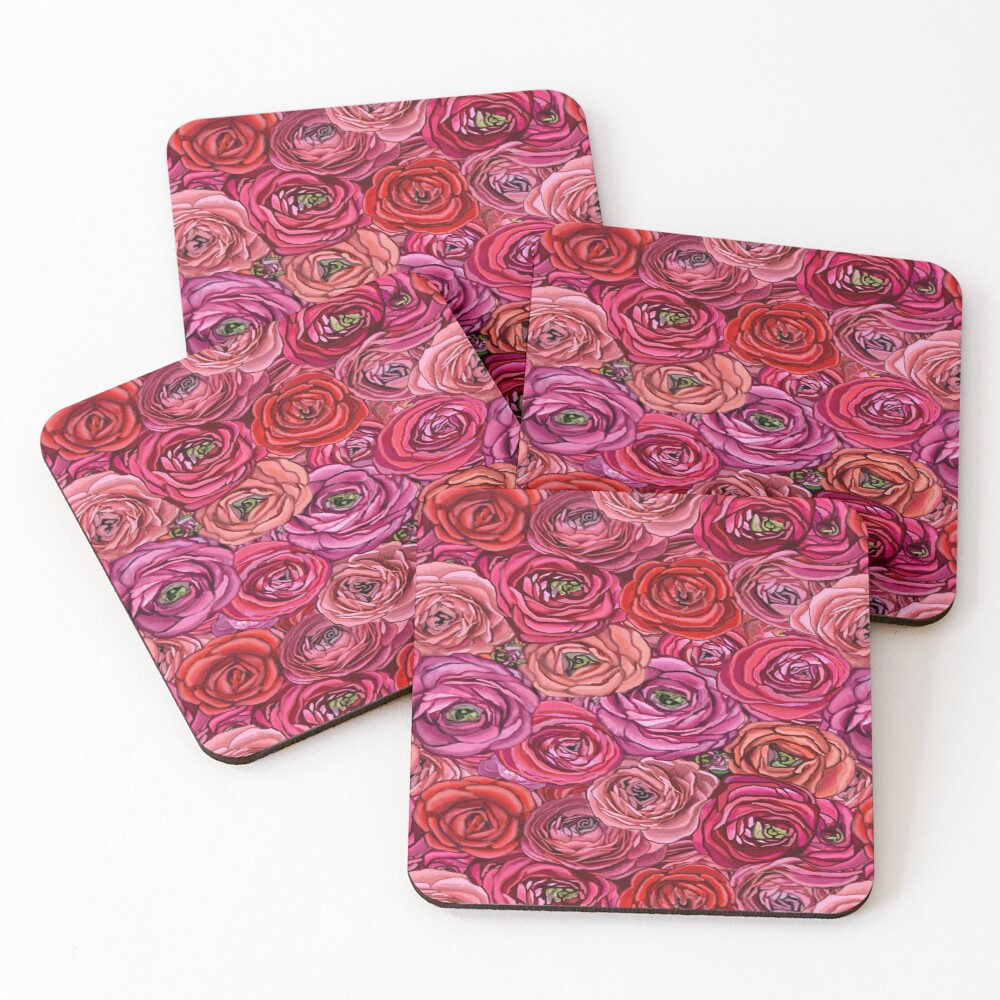 red rose and pink rose ranunculus flower floral Coasters (Set of 4)