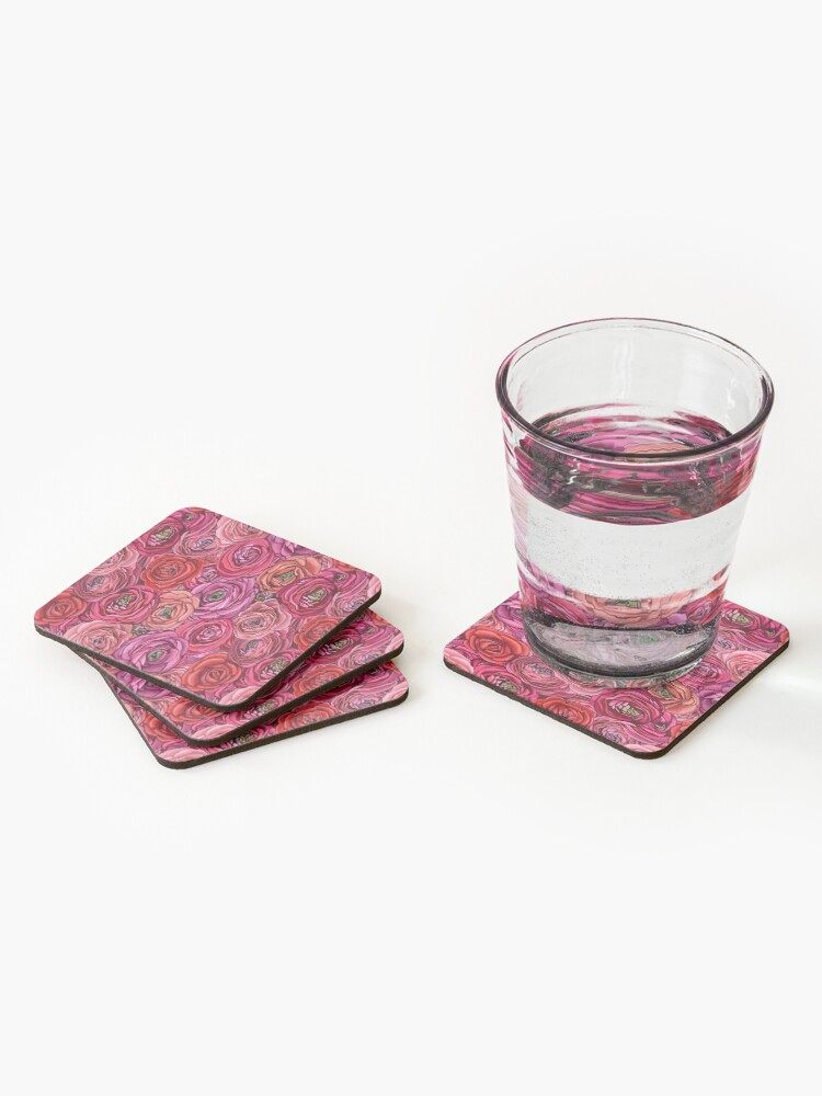 Alternate view of red rose and pink rose ranunculus flower floral Coasters (Set of 4)