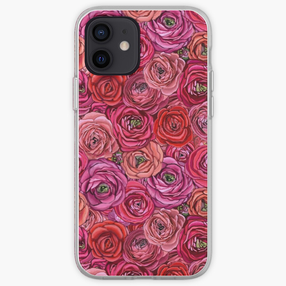 red rose and pink rose ranunculus flower floral iPhone Case & Cover