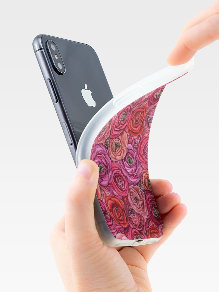 Alternate view of red and pink rose ranunculus flower floral iPhone Case & Cover