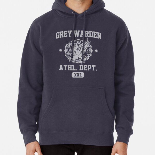 Grey Warden Athletic Department   Dragon Age Gym Shirt Style   Silver Print Pullover Hoodie