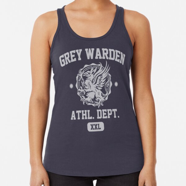 Grey Warden Athletic Department | Dragon Age Gym Shirt Style | Silver Print Racerback Tank Top