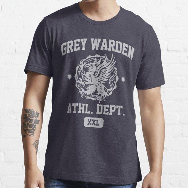 Grey Warden Athletic Department   Dragon Age Gym Shirt Style   Silver Print Essential T-Shirt