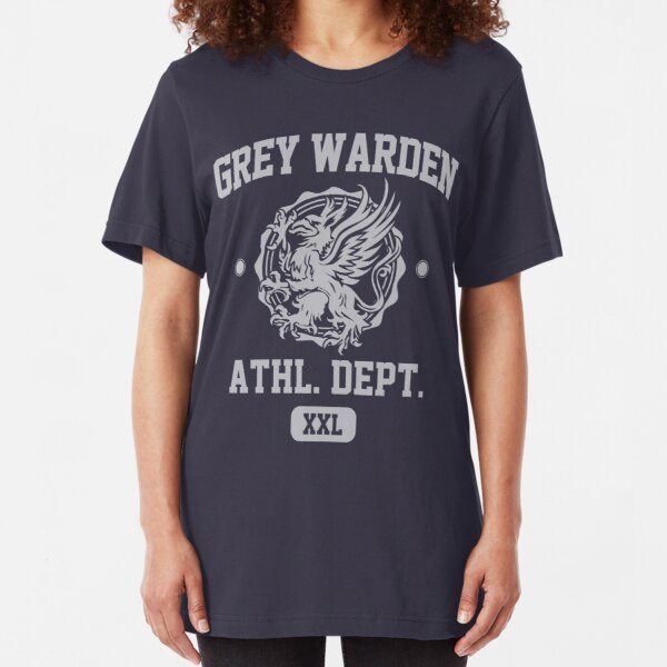 Grey Warden Athletic Department | Dragon Age Gym Shirt Style | Silver Print Slim Fit T-Shirt