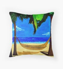 tropical hammock on the beach Throw Pillow