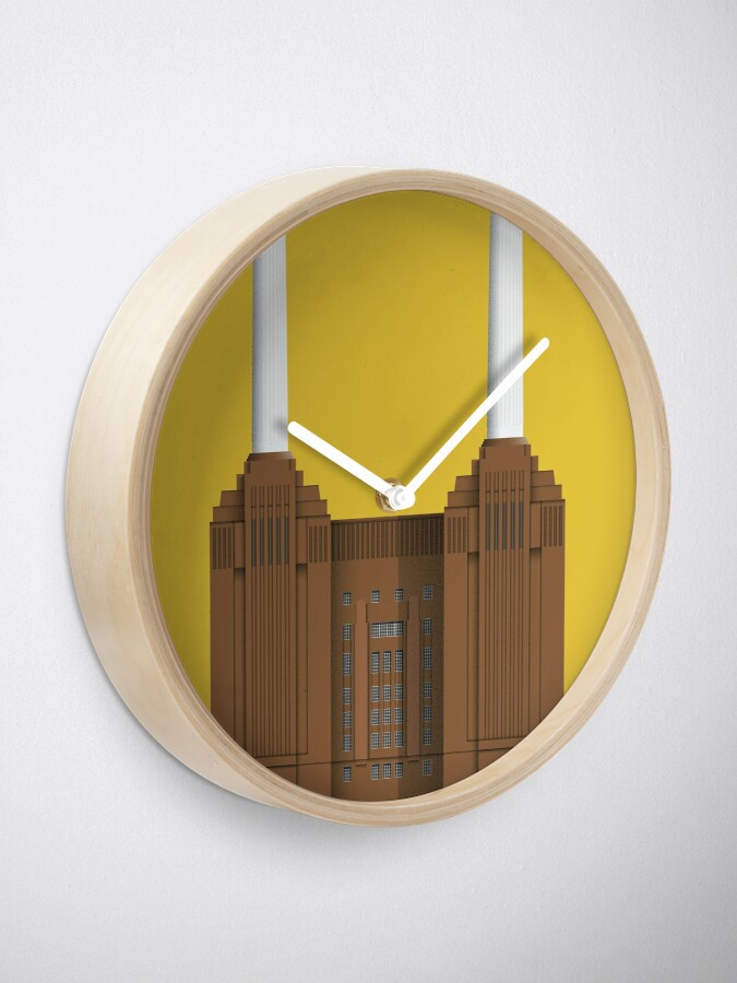 Alternate view of Battersea Power Station - London Architecture - Illustrated City- Art Deco Clock