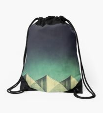 Urban Geometric Landscape Skyline Drawstring Bag