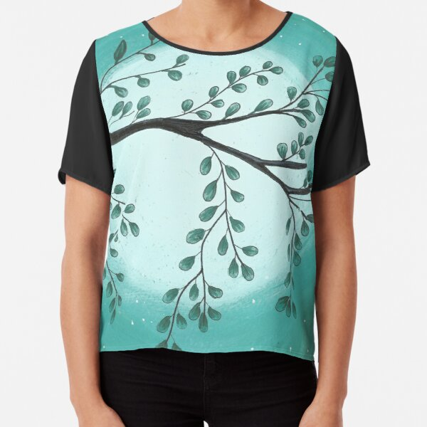A Green tree and sky.Summer picture. Watercolor hand drawn illustration. Chiffon Top