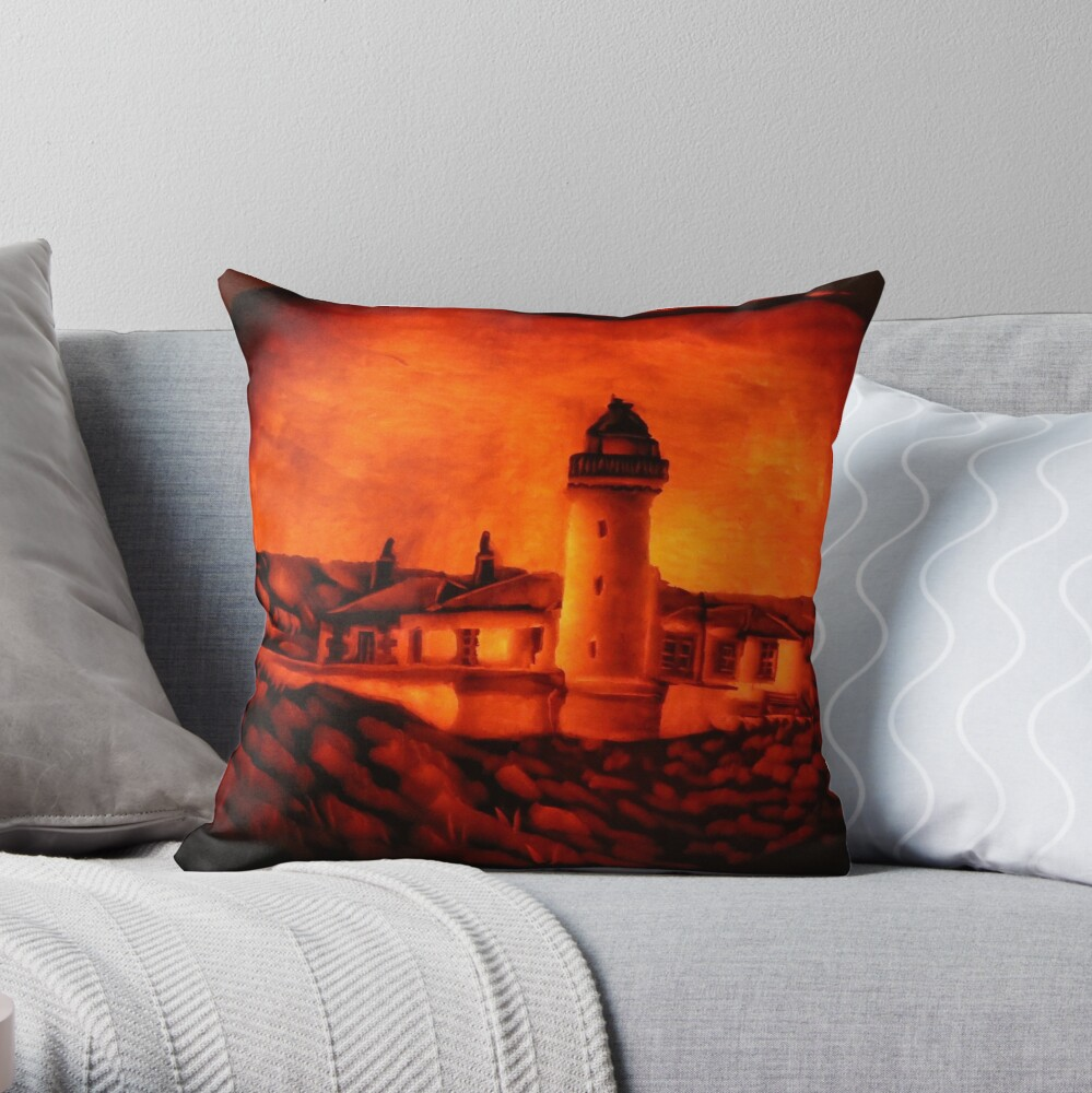 Low Light, Isle of May, Carved on a Pumpkin Throw Pillow
