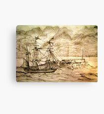 19th century Sailing Ship off Castle Cornet in Guernsey Canvas Print
