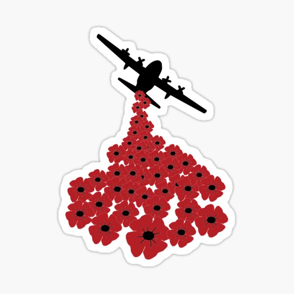 Remembrance Poppy Falling From Plane Sticker