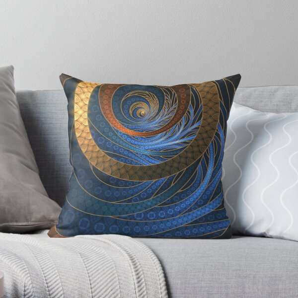Royal Blue Sapphires and Shining Gold Fractal Bangles Throw Pillow