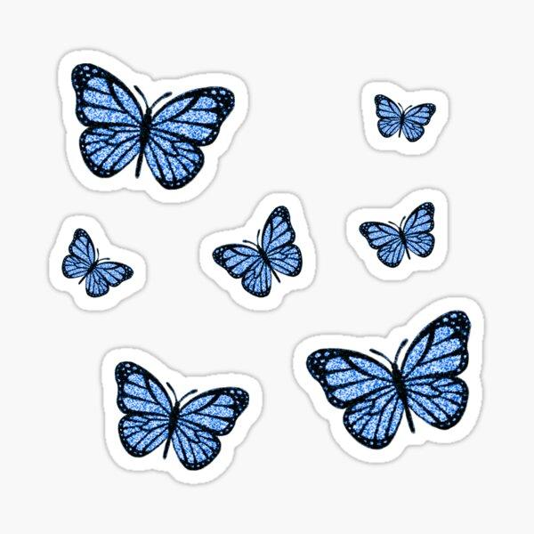 Blue Glitter Butterfly Assorted Sizes Sticker