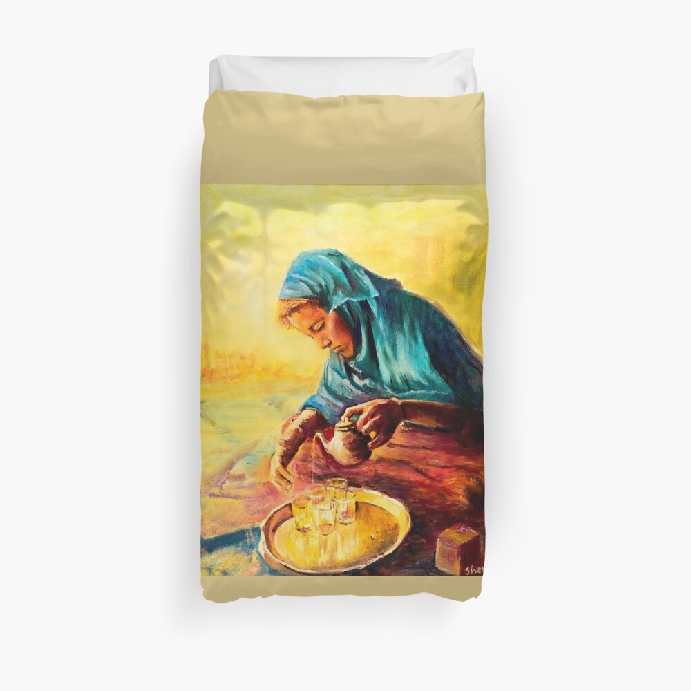 African Chai Tea Lady Duvet Cover