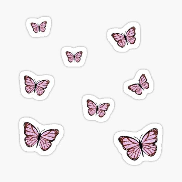 Pink Glitter Butterfly Assorted Sizes Sticker