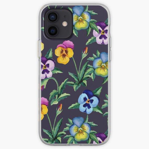 Pansy violet pattern iPhone Soft Case