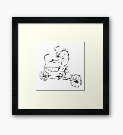 horse with hands riding a bike Framed Print