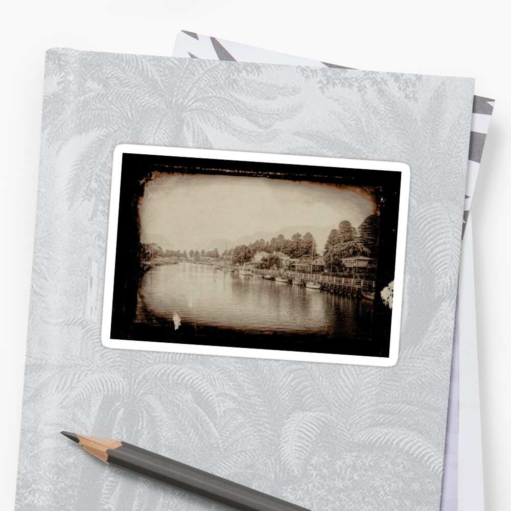 Port Fairy Sunrise (tin type vintage sepia) Sticker