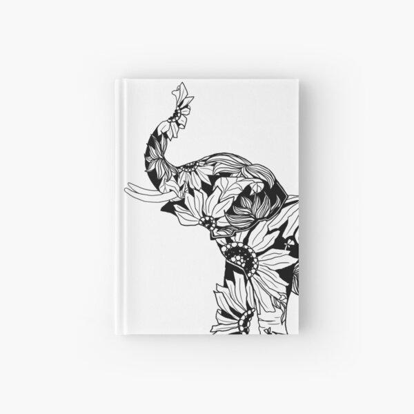 Sunflower Elephant - B&W Hardcover Journal