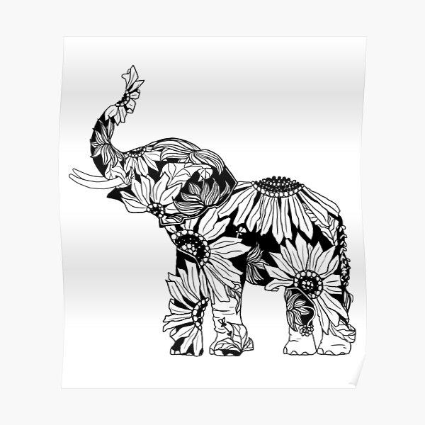Sunflower Elephant - B&W Poster