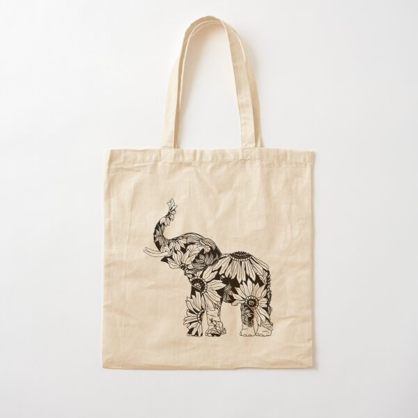 Sunflower Elephant - B&W Cotton Tote Bag