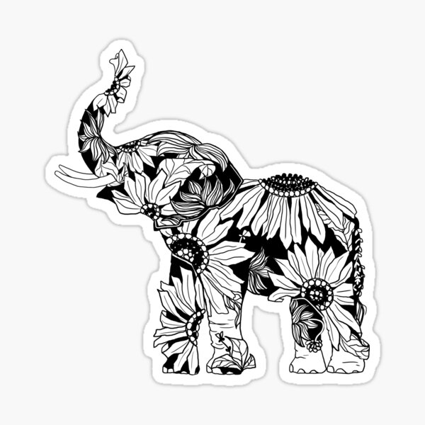 Sunflower Elephant - B&W Sticker