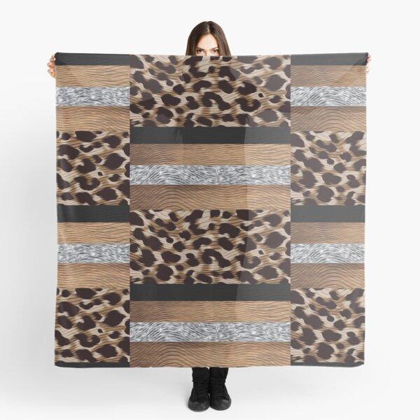 Silver, Black and Tan Leopard Design Scarf