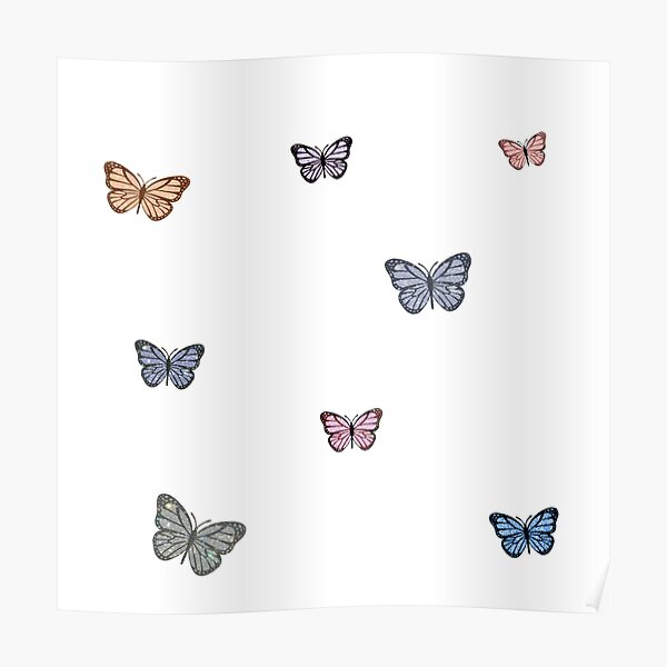 Small Glitter Butterfly Assorted Colors Poster
