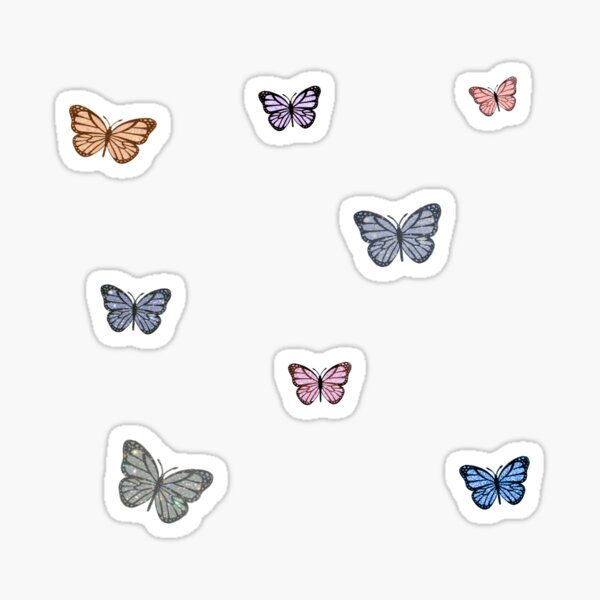 Small Glitter Butterfly Assorted Colors Sticker