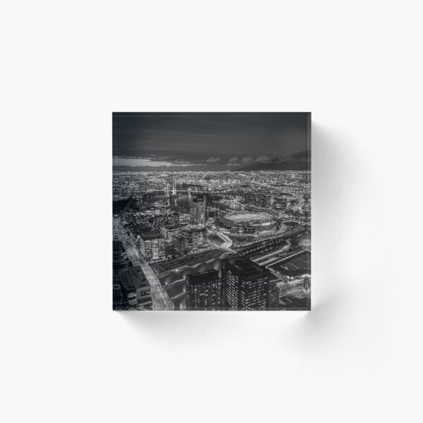 Melbourne at Night (black & white) Acrylic Block