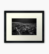 Melbourne at Night (black & white) Framed Print