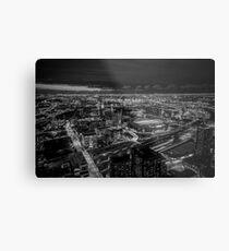 Melbourne at Night (black & white) Metal Print