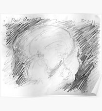 female head on bus -(150211)- graphite pencil sketch/paper Poster