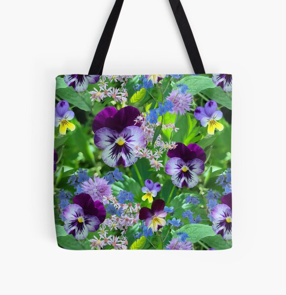 Pansies in the autumn yard by Tea with Xanthe All Over Print Tote Bag