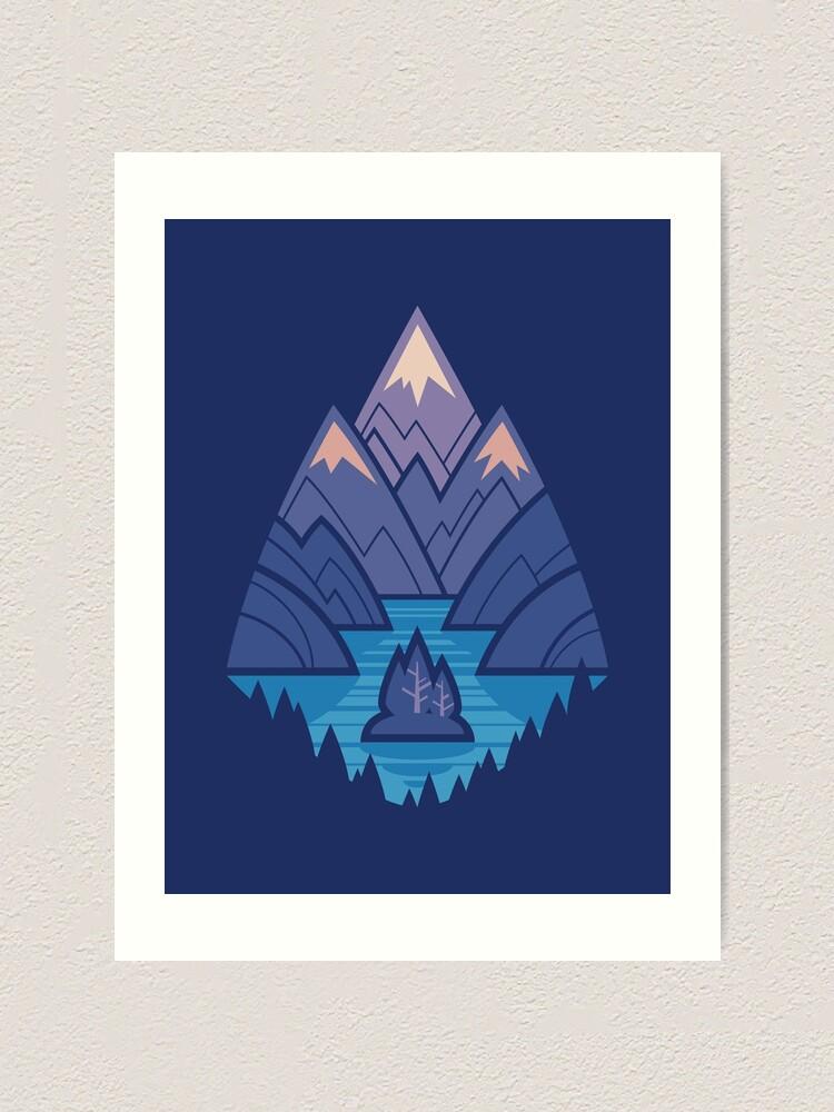 Alternate view of Mountain Lake : Dark Blue Art Print