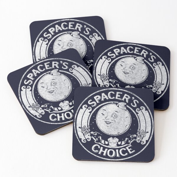 Spacer's Choice Distressed White Logo | The Outer Worlds Logo Coasters (Set of 4)