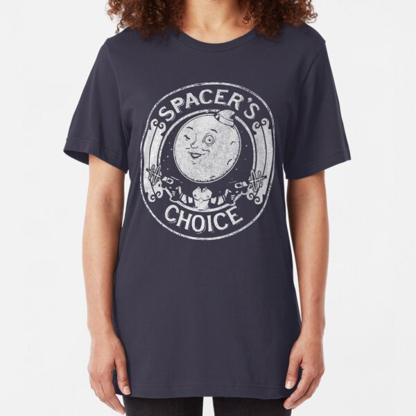 Spacer's Choice Distressed White Logo   The Outer Worlds Logo Slim Fit T-Shirt