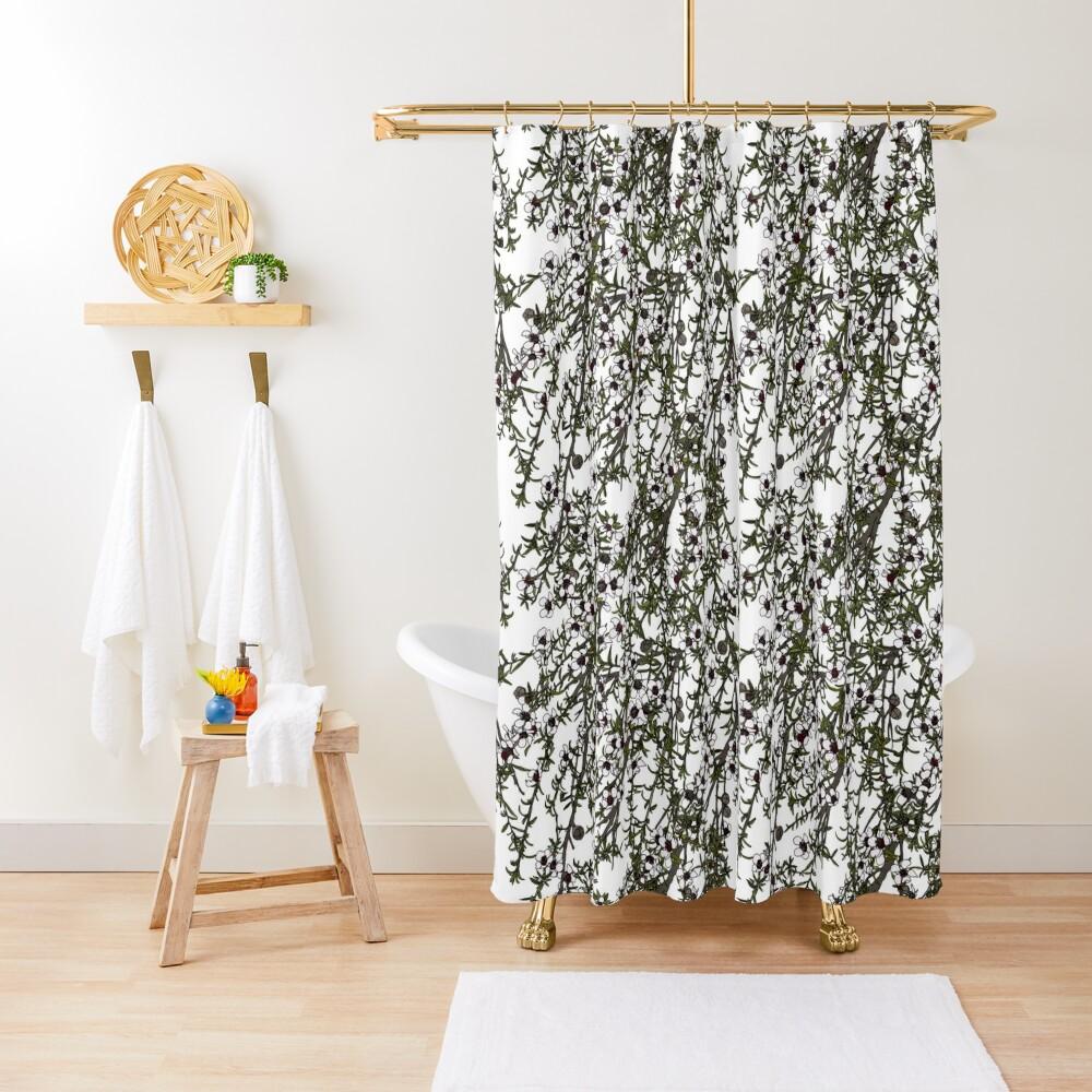 Mānuka bush - white flowers Shower Curtain