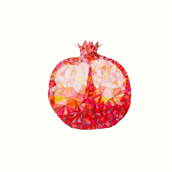 quotLow Poly Watercolor Pomegranatequot Art Print by LidiaPPersian Pomegranate Art