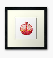 Low Poly Watercolor Pomegranate Framed Print