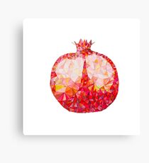Low Poly Watercolor Pomegranate Canvas Print